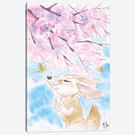 Cherry Blossom Wishes - Fox Canvas Print #MHS19} by Martin Hsu Canvas Print