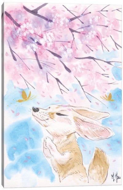 Cherry Blossom Wishes - Fox Canvas Art Print