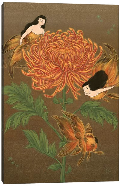 Goldfish Mermaids - Autumn Chrysanthemum Canvas Art Print