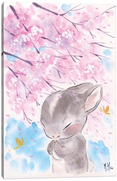 Cherry Blossom Wishes - Cottontail Canvas Art Print