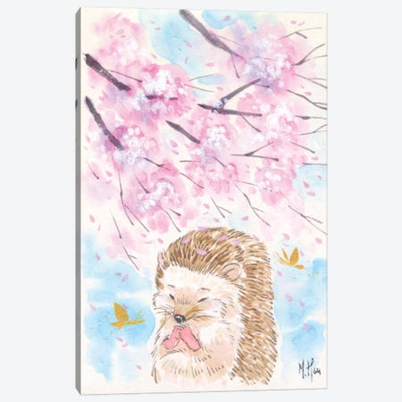 Cherry Blossom Wishes - Hedgehog Canvas Print #MHS21} by Martin Hsu Canvas Artwork