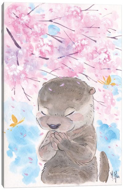 Cherry Blossom Wishes - Otter Canvas Art Print