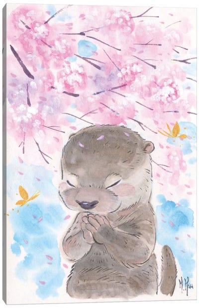 Cherry Blossom Wishes - Otter Canvas Art Print