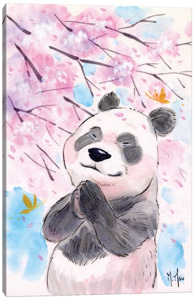 Cherry Blossom Wishes - Panda Canvas Art Print