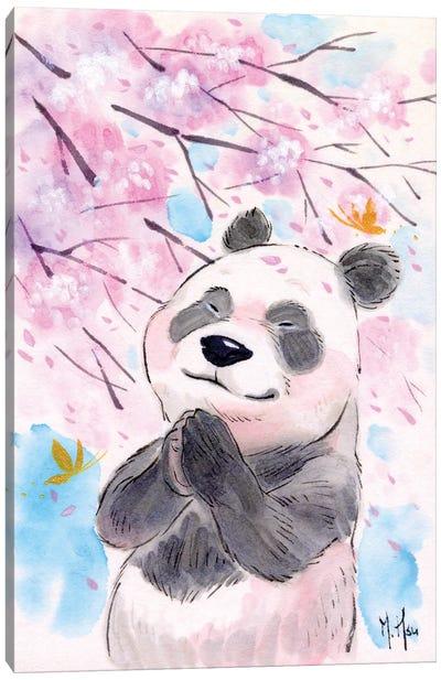 Cherry Blossom Wishes - Panda Canvas Art Print