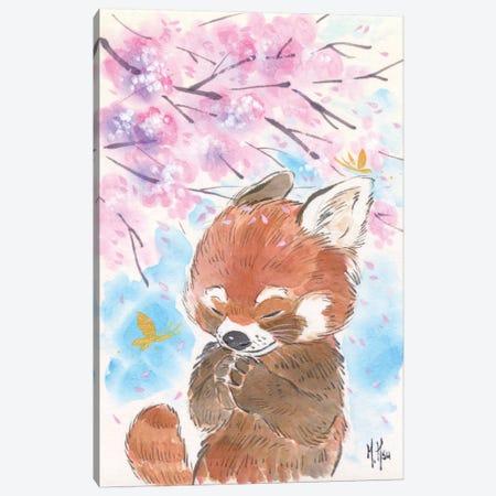 Cherry Blossom Wishes - Red Panda Canvas Print #MHS24} by Martin Hsu Canvas Art Print