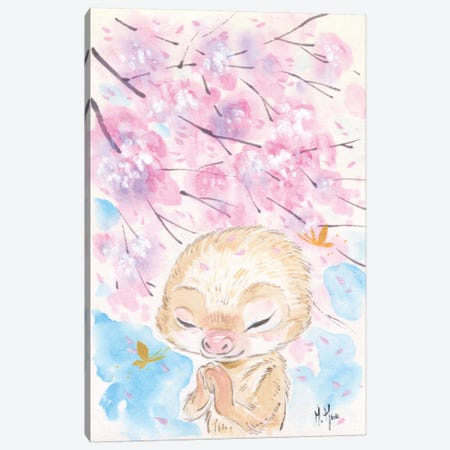 Cherry Blossom Wishes - Sloth Canvas Print #MHS25} by Martin Hsu Canvas Art Print