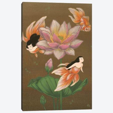 Goldfish Mermaids - Summer Lotus Canvas Print #MHS2} by Martin Hsu Canvas Wall Art