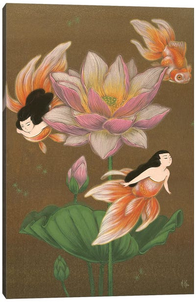 Goldfish Mermaids - Summer Lotus Canvas Art Print
