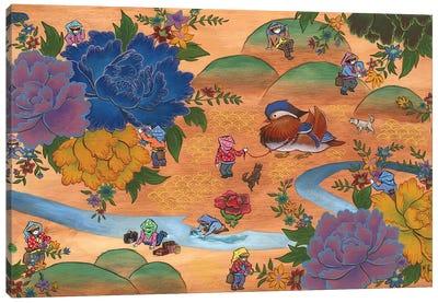 Peony - Mandarin Duck Canvas Art Print