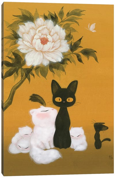 Cats and Peony  Canvas Art Print