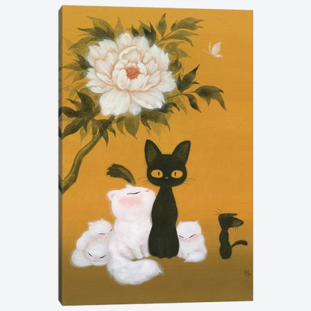 Cats and Peony  Canvas Print #MHS37} by Martin Hsu Canvas Wall Art
