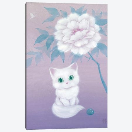 White Cat and Peony Canvas Print #MHS38} by Martin Hsu Canvas Print