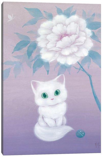 White Cat and Peony Canvas Art Print
