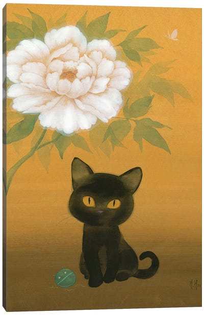 Black Cat and Peony Canvas Art Print