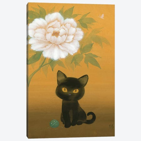 Black Cat and Peony Canvas Print #MHS39} by Martin Hsu Canvas Print