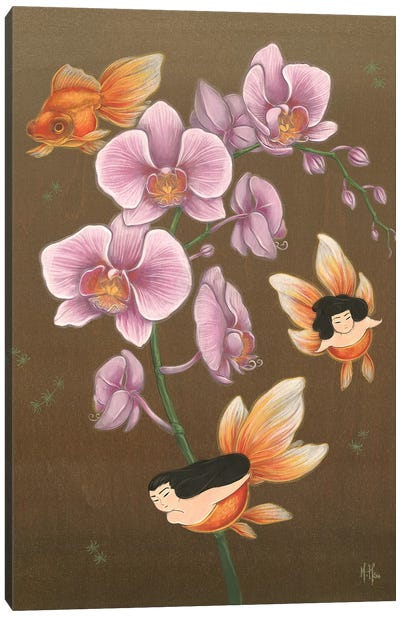 Goldfish Mermaids - Spring Orchids Canvas Art Print