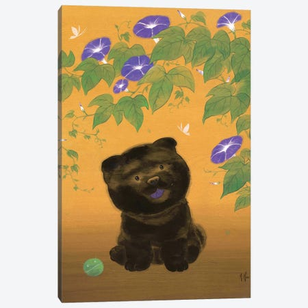 Chow and Morning Glories Canvas Print #MHS40} by Martin Hsu Canvas Artwork
