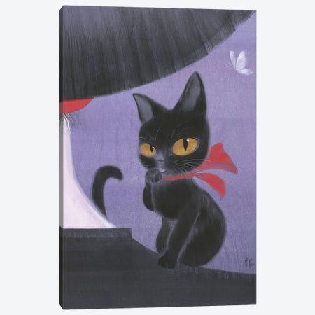 Girl and Black Cat  3-Piece Canvas #MHS42} by Martin Hsu Canvas Wall Art