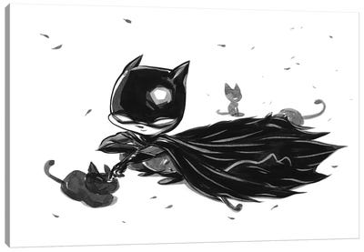Bat Boy Cats Canvas Art Print