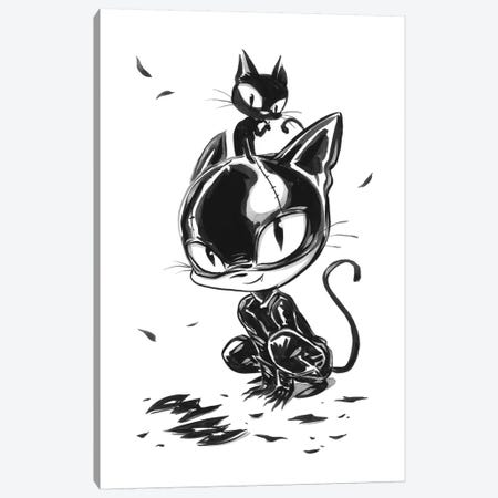 Cat Girl Play Canvas Print #MHS48} by Martin Hsu Canvas Art