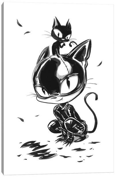 Cat Girl Play Canvas Art Print