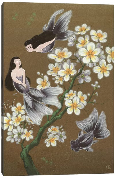 Goldfish Mermaids - Winter Plum Blossoms Canvas Art Print