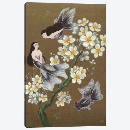 Goldfish Mermaids - Winter Plum Blossoms Canvas Print #MHS4} by Martin Hsu Canvas Art Print