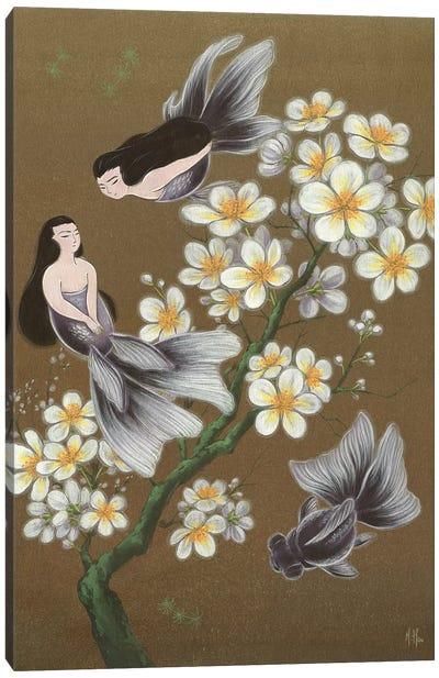 Goldfish Mermaids - Winter Plum Blossoms Canvas Art Print