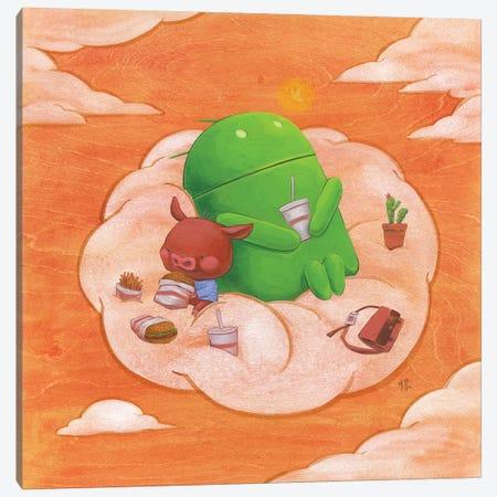 Robot Pig Canvas Print #MHS53} by Martin Hsu Canvas Art Print
