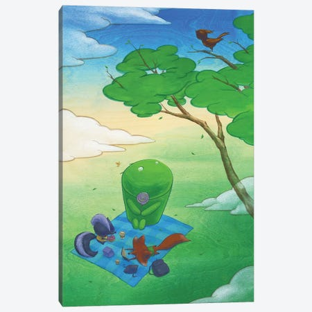 Robot Picnic Canvas Print #MHS54} by Martin Hsu Canvas Artwork