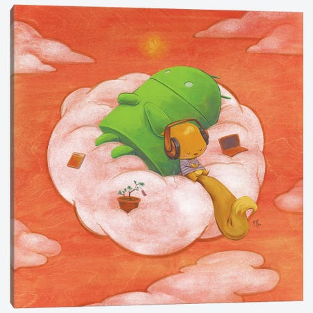 Robot Squirrel Canvas Print #MHS56} by Martin Hsu Canvas Artwork