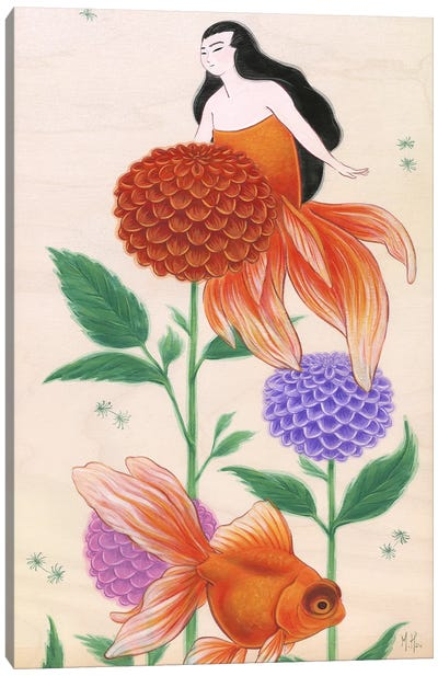 Goldfish Mermaids - Dahlias Canvas Art Print