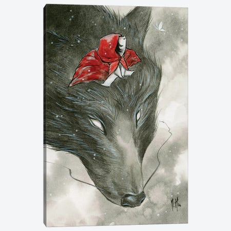 Spirit Animals - Grey Wolf Canvas Print #MHS73} by Martin Hsu Canvas Print