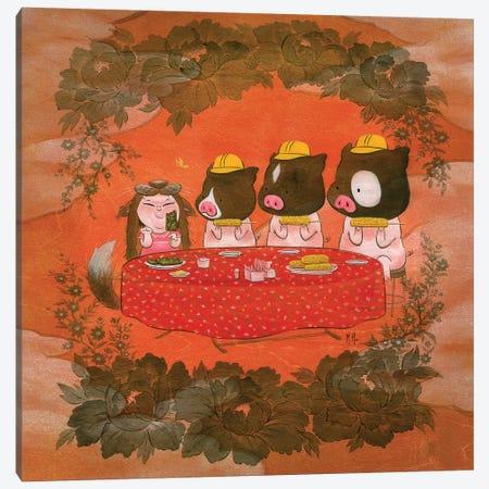 Three Pigs Canvas Print #MHS87} by Martin Hsu Canvas Art Print