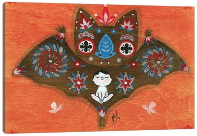 Folk Blessings - Bat Canvas Art Print