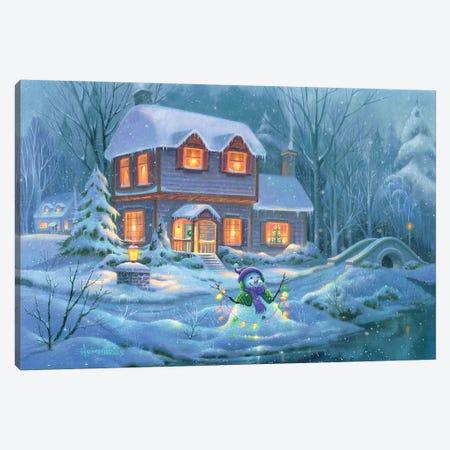 Snowy Bright Night Canvas Print #MHU29} by Michael Humphries Canvas Art
