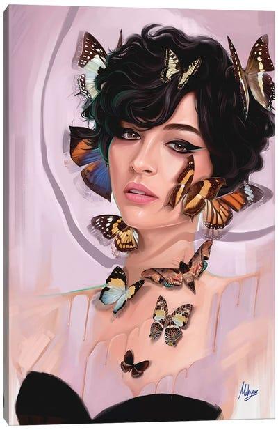 Butterfly Cream Canvas Art Print
