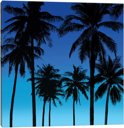 Palms Black on Blue I Canvas Art Print