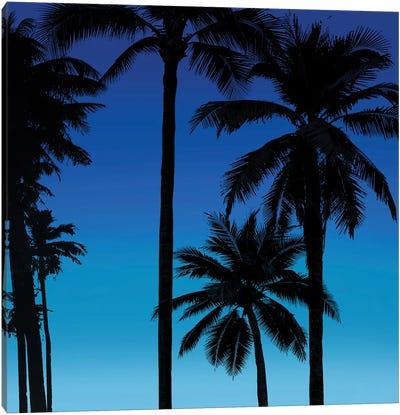 Palms Black on Blue II Canvas Art Print