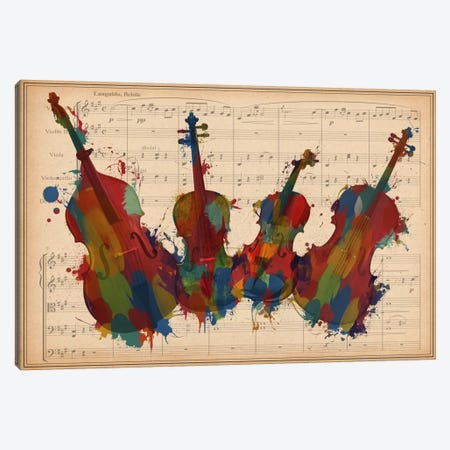 Multi-Color Orchestra Ensemble: Violin, Viola, Cello, Double Bass Canvas Print #MIC100} by Unknown Artist Canvas Art Print