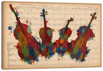 Multi-Color Orchestra Ensemble: Violin, Viola, Cello, Double Bass Canvas Art Print
