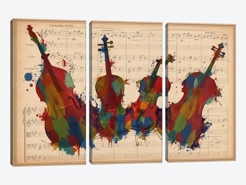 Multi-Color Orchestra Ensemble: Violin, Viola, Cello, Double Bass by iCanvas 3-piece Canvas Art