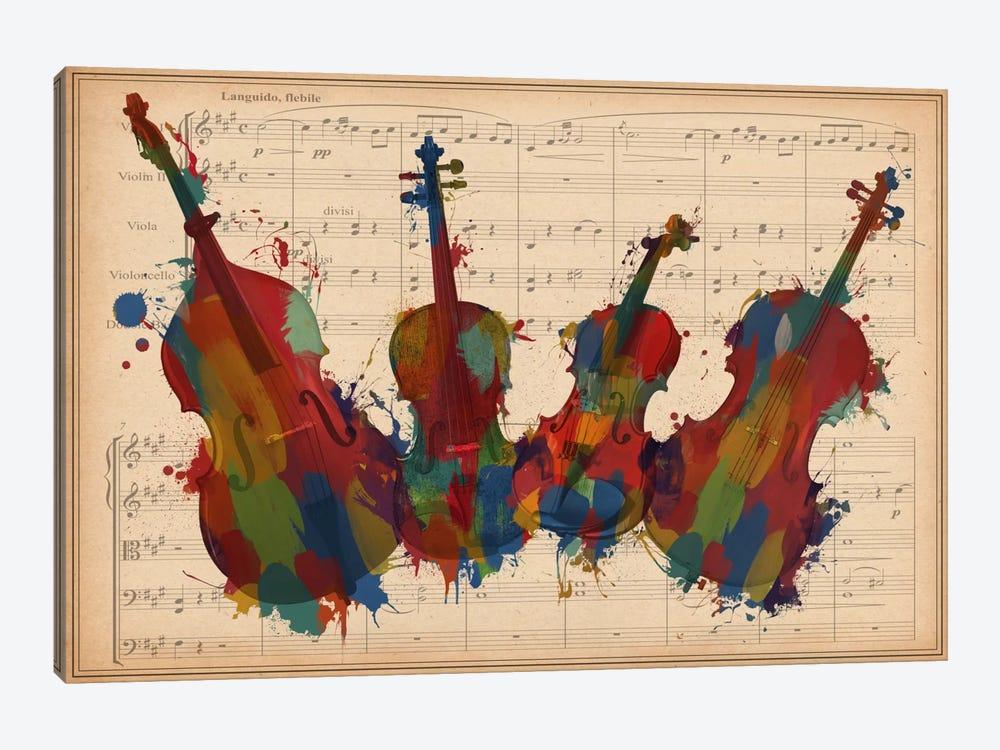 Multi-Color Orchestra Ensemble: Violin, Viola, Cello, Double Bass by Unknown Artist 1-piece Canvas Art