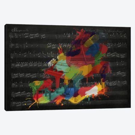 Multi-Color Piano on Black Music Sheet #2 Canvas Print #MIC102} by iCanvas Art Print
