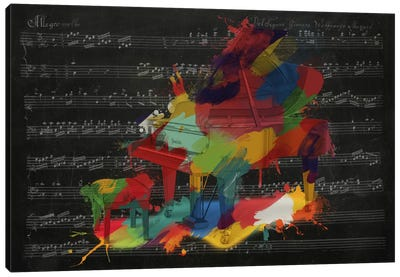 Multi-Color Piano on Black Music Sheet #2 Canvas Art Print