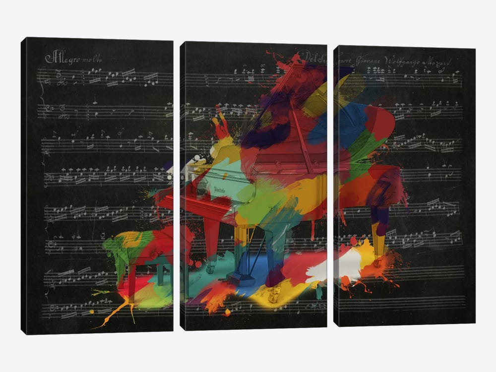Multi-Color Piano on Black Music Sheet #2 by Unknown Artist 3-piece Canvas Art