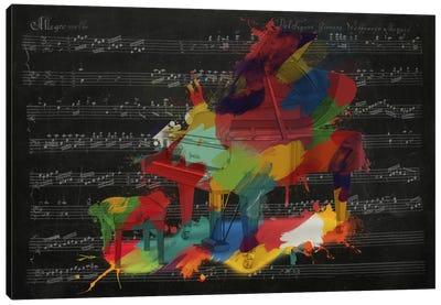 Multi-Color Piano on Black Music Sheet #2 Canvas Art Print