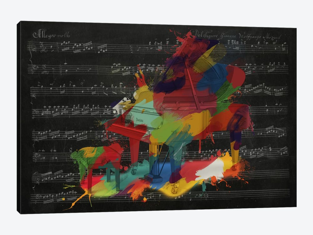 Multi-Color Piano on Black Music Sheet #2 by Unknown Artist 1-piece Canvas Art