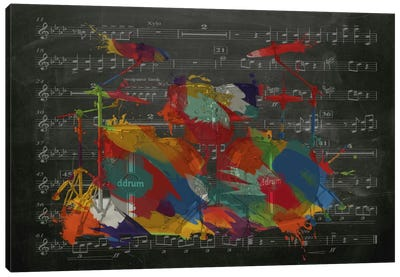 Multi-Color Drums on Black Music Sheet #2 Canvas Art Print